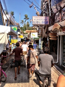 Walking the streets of Phi Phi to the Bayview Resort