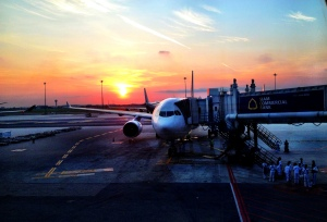 Gorgeous sunrise at the Bangkok Airport!